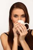 A mulher com um copo imagens de stock royalty free