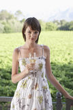 Mulher com um copo de vinho no campo Fotos de Stock Royalty Free