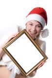 Mulher com um frame foto de stock