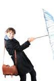 Mulher com um guarda-chuva azul Fotografia de Stock