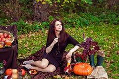 Mulher com um olhar pensativo no parque do outono Imagens de Stock