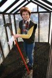 A mulher com um raker. imagem de stock royalty free