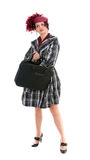 A mulher é com um saco Fotografia de Stock Royalty Free