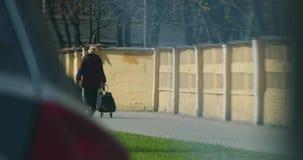 A mulher com um saco de compras anda ao longo do passeio à vista traseira video estoque