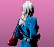 Mulher com um saco vermelho Fotos de Stock