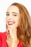 Mulher com um segredo fotografia de stock royalty free