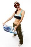 Mulher com um snowboard Fotos de Stock
