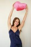 Mulher com um vermelho grande Fotos de Stock Royalty Free