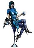 Mulher com um vidro de cocktail e uma arma ilustração stock
