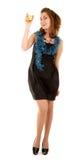 Mulher com um vidro do champanhe no vestido preto Fotos de Stock