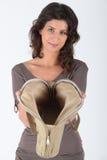 Mulher com uma bolsa Imagens de Stock Royalty Free