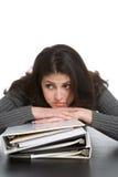 Mulher com cadernos Imagens de Stock