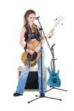 Mulher com uma guitarra Fotografia de Stock Royalty Free