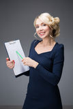 Mulher com uma tabuleta Imagem de Stock