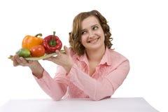 Mulher com vegetais. fotografia de stock royalty free