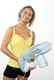 Mulher com ventilador Fotografia de Stock Royalty Free