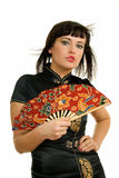 Mulher com ventilador Foto de Stock Royalty Free
