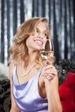 Mulher com vidro do vinho Imagens de Stock Royalty Free