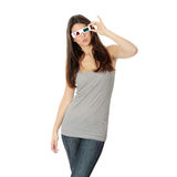 Mulher com vidros 3d Imagens de Stock Royalty Free