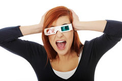 Mulher com vidros 3d Foto de Stock