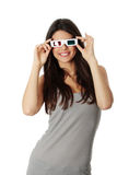 Mulher com vidros 3d Foto de Stock Royalty Free