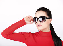Mulher com vidros de sol grandes imagens de stock
