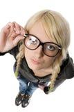 A mulher com vidros olha como como a menina nerdy, humor Imagens de Stock