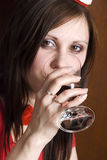 Mulher com vinho Fotografia de Stock