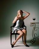 Mulher com vinho Fotos de Stock Royalty Free