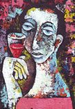 Mulher com vinho tinto de vidro Foto de Stock Royalty Free