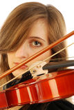 Mulher com violino 005 Fotos de Stock Royalty Free