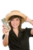 Mulher com wad de contas de dólar imagens de stock