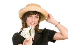 Mulher com wad do dinheiro fotografia de stock