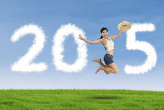 A mulher comemora o ano novo no prado Fotografia de Stock Royalty Free