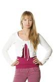 Mulher confiável em calças de brim cor-de-rosa Fotografia de Stock Royalty Free