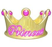 Mulher consideravelmente estragada da menina da princesa Gold Crown Royalty Foto de Stock Royalty Free