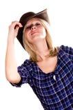 Mulher consideravelmente ocidental no chapéu de cowboy foto de stock