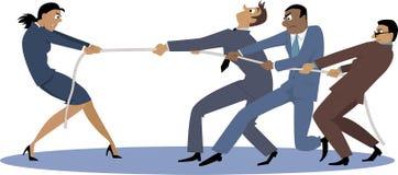 Mulher contra homens Foto de Stock Royalty Free