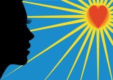 A mulher, coração e o sol. Imagem de Stock Royalty Free