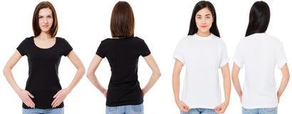 Mulher coreana e branca no t-shirt branco e preto vazio: vistas dianteiras e traseiras, trocistas acima, molde do projeto foto de stock royalty free