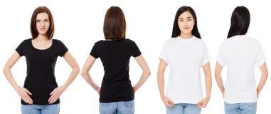 Mulher coreana e branca no t-shirt branco e preto vazio: vistas dianteiras e traseiras, trocistas acima, molde do projeto imagem de stock