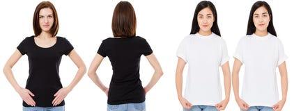 Mulher coreana e branca no t-shirt branco e preto vazio: vistas dianteiras e traseiras, trocistas acima, molde do projeto imagem de stock royalty free