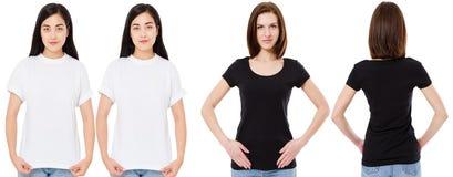 Mulher coreana e branca no t-shirt branco e preto vazio: vistas dianteiras e traseiras, trocistas acima, molde do projeto imagens de stock royalty free