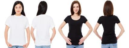 Mulher coreana e branca no t-shirt branco e preto vazio: vistas dianteiras e traseiras, trocistas acima, molde do projeto fotografia de stock royalty free