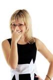 A mulher corrige pontos Fotografia de Stock Royalty Free