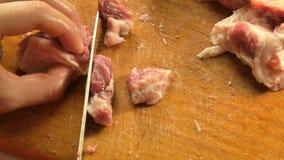 A mulher corta a carne com a faca em partes pequenas na placa de corte vídeos de arquivo