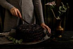 A mulher corta o fim do bolo de chocolate Tons escuros foto de stock royalty free
