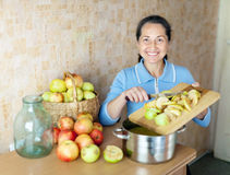 A mulher cozinha o atolamento da maçã Imagem de Stock