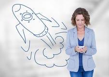 Mulher criativa com foguete desenhado à mão Fotografia de Stock Royalty Free