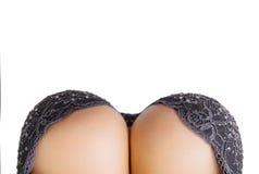 Mulher curvy bonita com os peitos grandes no sutiã preto Fotografia de Stock Royalty Free